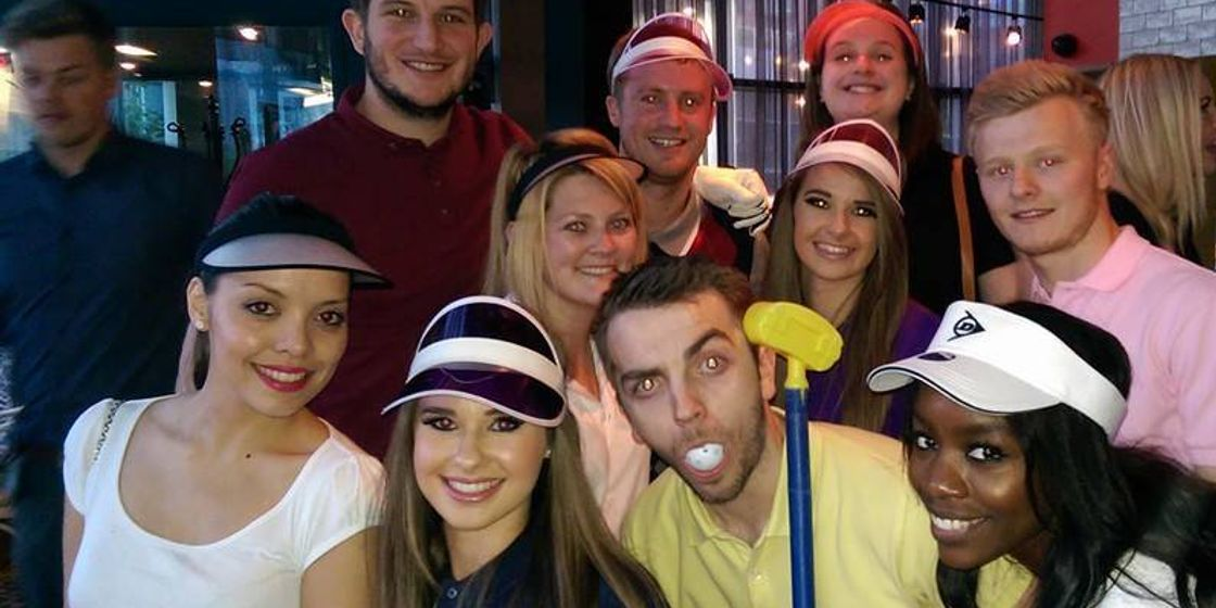 Students complete the course - pub golf style